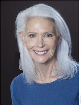 model Nancy Ozelli mature silver grey gray hair blue eyes